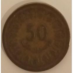 Coin Tunisia: 50 Millimes 1960