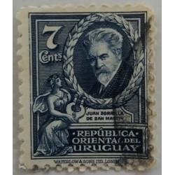 Uruguay stamp: 7 cents Poet...