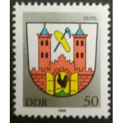 Timbro DDR: Suhl 50 Pfennig...