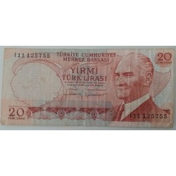 Banknote turkey 20 lirasi 1970